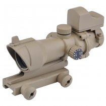 Aim-O ACOG 4x32 Scope Red & Green Reticle & Mini Red Dot - Dark Earth